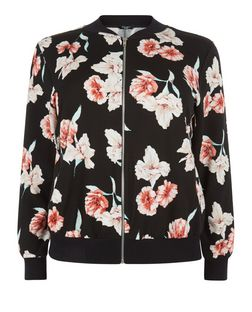 Curves Black Floral Print Bomber Jacket  | New Look