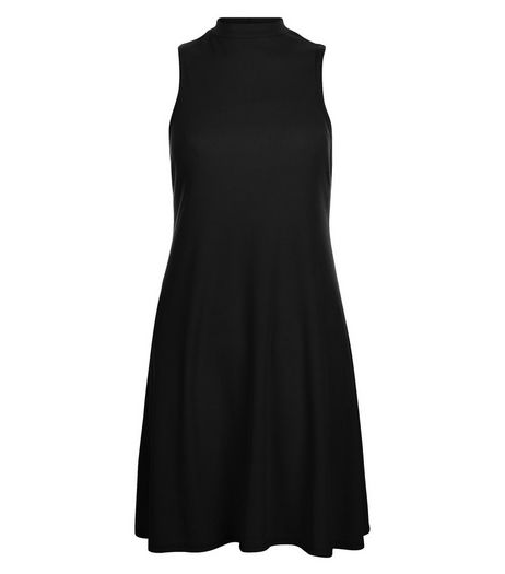 Black Ribbed Funnel Neck Swing Dress | New Look