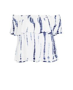 Blue Tie Dye Print Bardot Neck Top | New Look