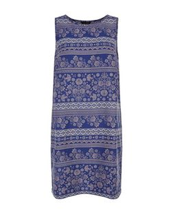 Blue Floral Tapestry Print Sleeveless Tunic Dress | New Look