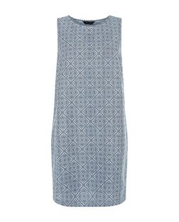 Blue Tile Print Sleeveless Tunic Dress  | New Look