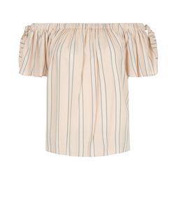 Pink Stripe Bardot Neck Tie Sleeve Top | New Look