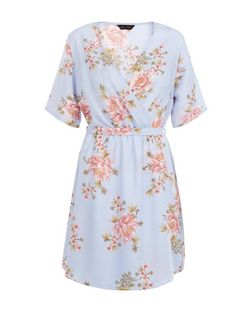 Blue Floral Print Wrap Dress | New Look