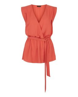 Orange Wrap Front Tie Waist Roll Sleeve Top  | New Look