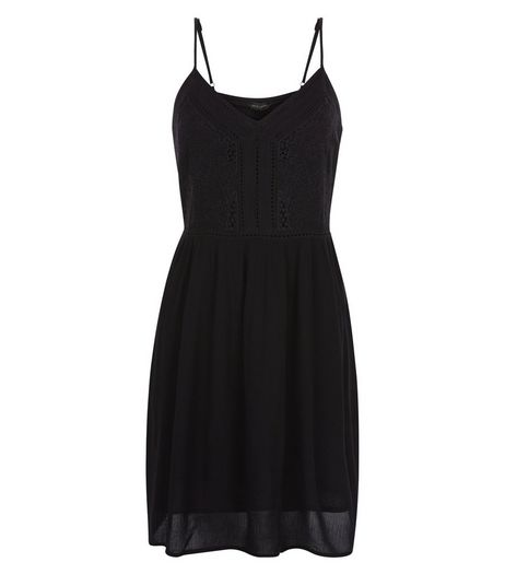 Black Embroidered Trim Strappy Dress  | New Look