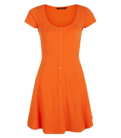 Bright Orange Button Front Skater Dress  | New Look