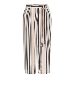 Pink Stripe Tie Waist Culottes  | New Look