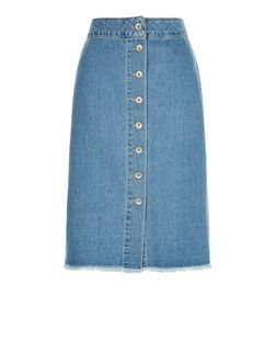 Petite Blue Button Front Bleached Denim Midi Skirt | New Look