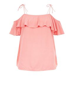 Mid Pink Ruffle Trim Tie Strap Cold Shoulder Top  | New Look