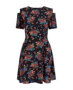 Black Ditsy Floral Cold Shoulder Skater Dress | New Look