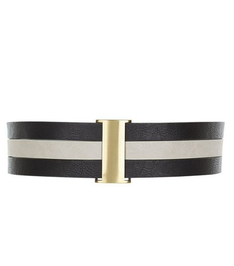 Black Stripe Stretch Belt  | New Look