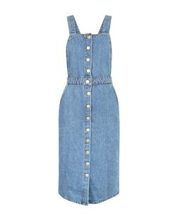 Tall Blue Button Front Denim Pinafore Dress | New Look
