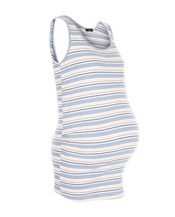 Maternity Pink Stripe Ribbed Vest | New Look