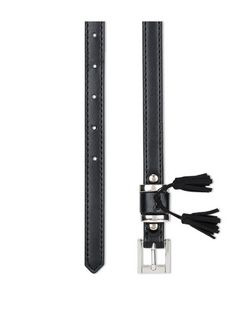 Black Tassel Trim Triple Keeper Belt  | New Look