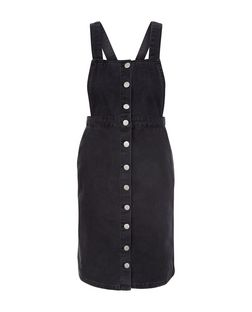 Petite Black Button Front Pinafore Dress | New Look