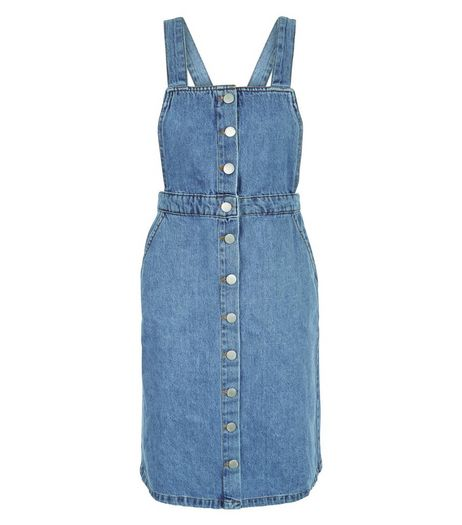 Petite Blue Button Front Pinafore Dress | New Look