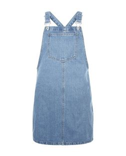 Petite Blue Bleach Wash Denim Pinafore Dress | New Look