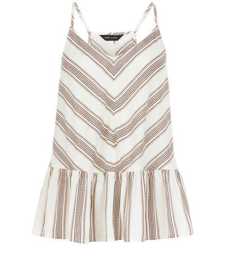 White Chevron Stripe Peplum Cami  | New Look