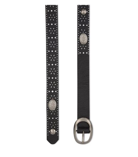 Black Laser Cut Out Western Belt  | New Look