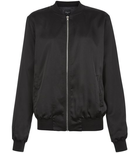 Tall Black Sateen Bomber Jacket | New Look