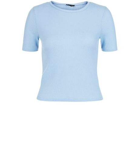 Pale Blue Ribbed Crop Top  | New Look