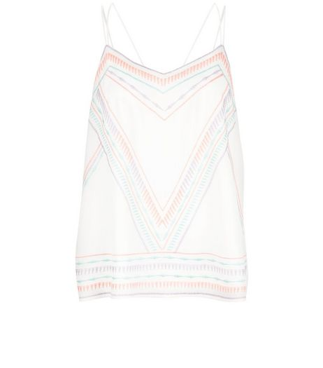 White Embroidered Trim Cami  | New Look