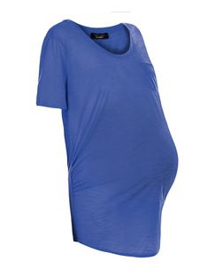 Maternity Blue Pocket Slub Short Sleeve T-Shirt | New Look