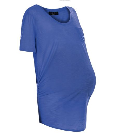 Maternity Blue Pocket Slub T-Shirt | New Look