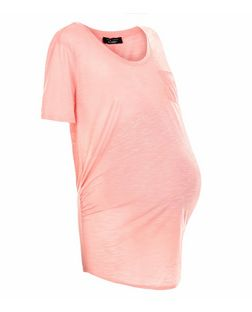 Maternity Mid Pink Pocket Slub Short Sleeve T-Shirt  | New Look