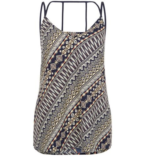 Blue Abstract Print Strappy V Neck Cami | New Look