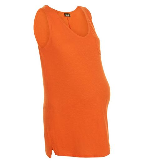 Maternity Orange Pocket Vest  | New Look