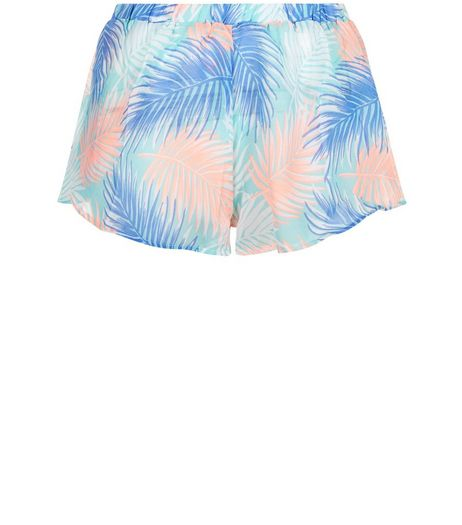 Blue Sheer Palm Leaf Print Shorts | New Look