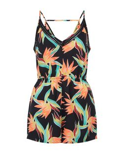Black Tropical Print V Neck Playsuit | New Look