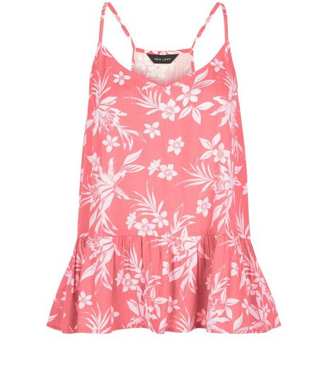 Pink Floral Tropical Print Peplum Cami  | New Look