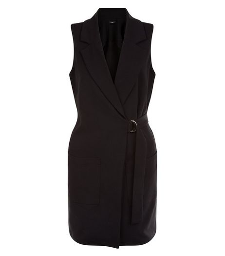 Petite Black D-Ring Belted Sleeveless Jacket | New Look