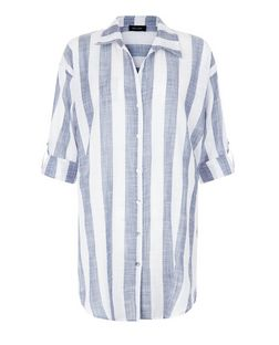 White Sheer Stripe Beach Shirt | New Look