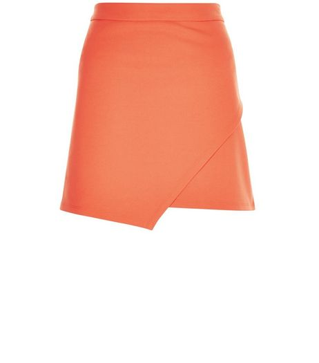 Petite Orange Crepe Wrap Skirt | New Look