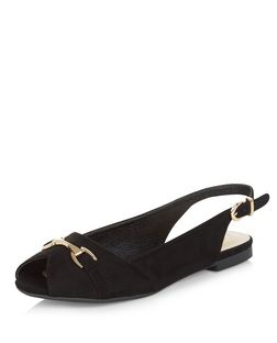 Teens Black Sling Back Peep Toe Loafers | New Look