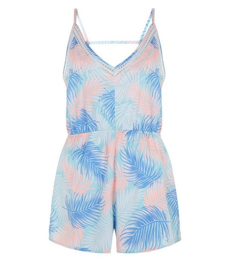 Blue Sheer Palm Leaf Print Playsuit | New Look