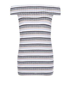 Tall Blue Stripe Bardot Neck Top | New Look