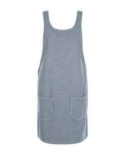 Blue Stripe Double Pocket Pinafore Dress  | New Look