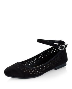 Teens Black Laser Cut Out Ankle Strap Pumps | New Look