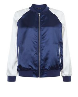 Navy Contrast Sleeve Bomber Jacket  | New Look