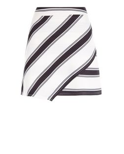 Petite Black Stripe Wrap Skirt | New Look