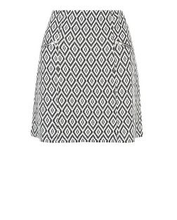 Tall Black Diamond Tile Print Jacquard Skirt | New Look