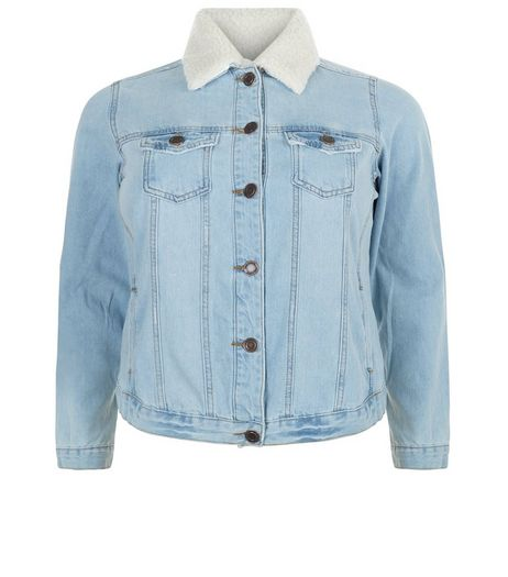 Curves Blue Borg Lined Denim Jacket | New Look