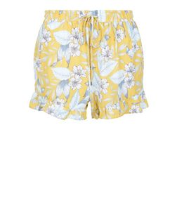 Petite Yellow Tropical Print Frill Shorts | New Look