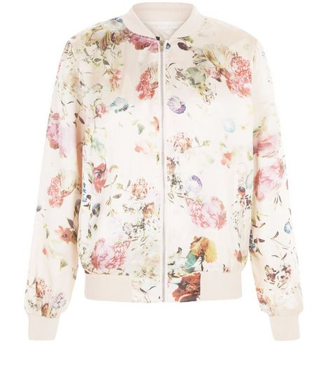 Pink Floral Print Bomber Jacket  | New Look
