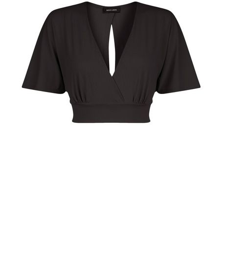 Black Wrap Front Cape Sleeve Crop Top  | New Look