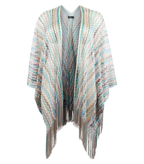 Curves Multicoloured Zig Zag Print Fringed Kimono | New Look